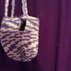 NWT purple amd creme Bag